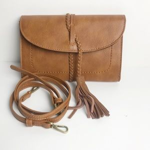 Free People Leather Cross Body Clutch Bag. NWOT